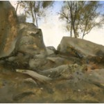 6.45pm 9 July 07. Boulders in the Gorges d' Apremont, Robert Perry, Size A4 Gouache
