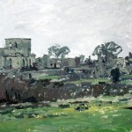 The ruins of Oradour, the 'Martyr Village' 5.45pm Tues 7 Feb 1997.24 x 50 inches. Oil