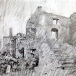 Oradour 97. The house of M Mounnier. 12.30pm Tue 11 Feb 1997. A4 Graphite-ink