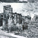 The ruined Church at Oradour. 3.30pm 18 Feb 1997. A4 Mixed media