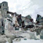 The ruined Church at Oradour. 6.30pm Tues 18 Feb 1997. 48 x 96 inches. Oil