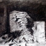 Oradour 97. Stairway to nowhere. 9.30pm Sat 15 Feb 1997. A4 Charcoal-ink