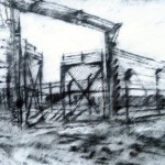 Gates at Auchwitz-Birkenau. 8.40pm Sat 3 May 1997. A4. Charcoal-ink