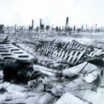 Auschwitz-Birkenau. Destroyed latrine block.4pm Thur 8 May 1997. A4 Charcoal-ink