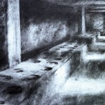Auschwitz-Birkenau. Latrine block. 3pm Wed 7 May 1997. A4. Charcoal-ink