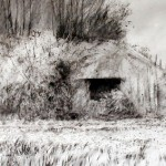 "Blockhaus ""B"" near Houdain Lez Bavay. 1.30pm Sat 11 May 2002. A2 Charcoal-ink"