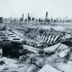 Auschwitz-Birkenau. Destroyed latrine block.4pm Thur 8 May 97. A4 Charcoal-ink