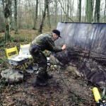 Robert Perry at work in Aveluy Wood. 7 Feb 2001. Photo