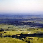 View towards Gloucester from Leckhampton Hill. 10am Wed 19 July 00. 17 x 33 inches. Oil