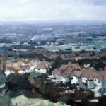 Tividale from Darbys Hill. March 1995. 48 x 96 inches. Oil