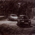 3.15am, 21 September 1987. Ryuder Street, Wordsley. Size A2. Conte crayon.
