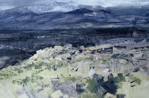 99Spain-04 Sierra Guadarama North of Madrid. Heavy snowstorm approaching.  February 1999.   48 x 96 inches (220x244cms)  Oil