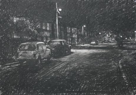NwdA1-04 B 3.40am 22 October 1987. Ryder Street , Wordsley.  Size A1 (60x84cm) Conte crayon. X