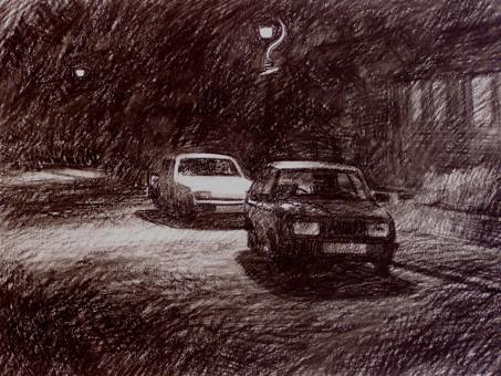 NwdA2-02   3.15am Mon 21 Sept 1987. Ryder Street. Wordsley  Size A2 (42 x 60cm)     Charcoal & Black Conte Crayon.