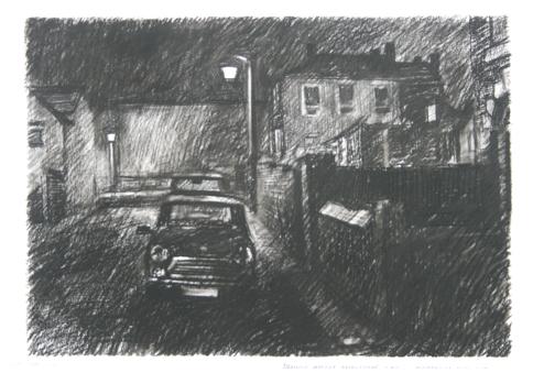 NwdA2-08  1.50am 14 July 1987. Dennis Street, Amblecote. Size A2. Charcoal & Conte crayon  X