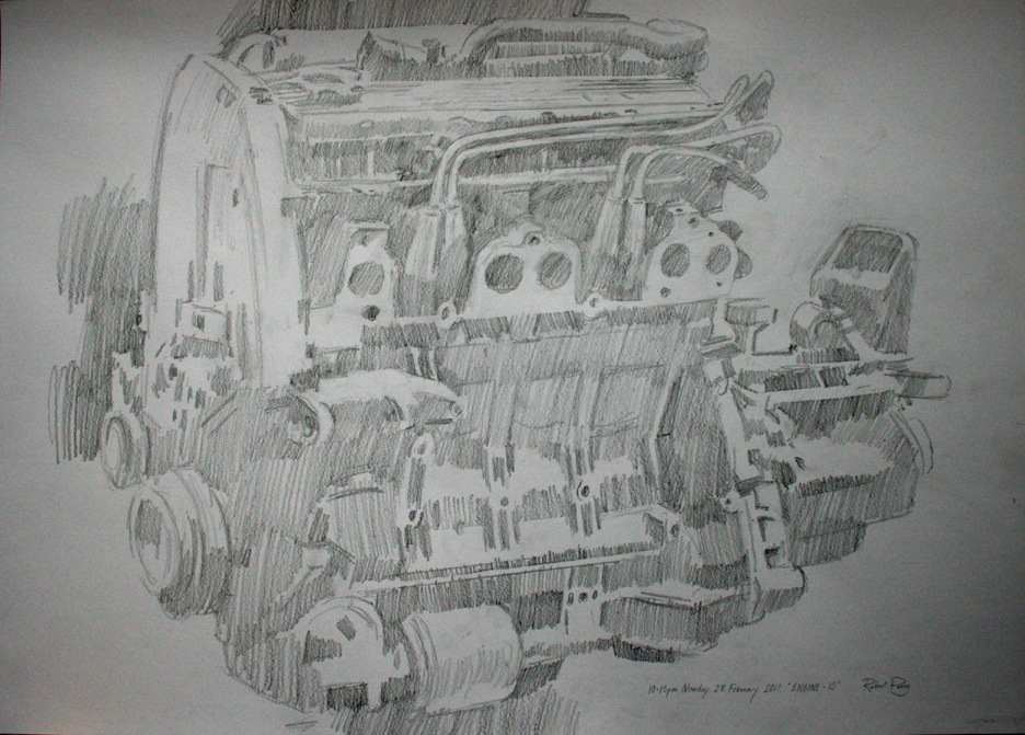 10.15pm 28 February 2011. 'ENGINE - 13'  Size A1 Drawing