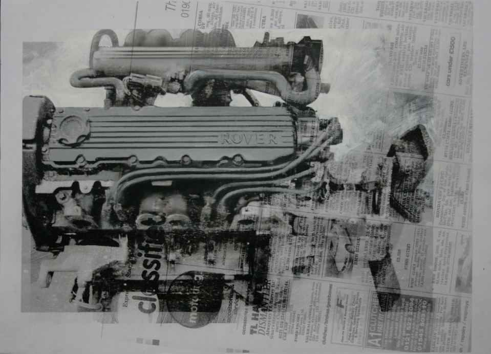 4.35pm 27 February 2011 'ENGINE' - 12' Size A3  Gouache & Digital Print