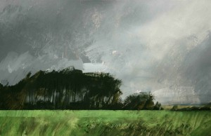 Be-S02 Grey skies near Mons, Belgium. Size A4 (21x31cm) Media Gouache.