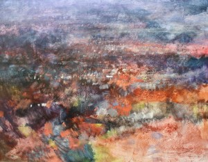 Dp-L04 Abstracted landscape. Darbys Hill, Dudley. Size 120x170cm. Media Oil. Price £3590