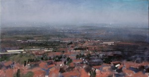 Dp-L07 A View of Tividale, Tipton, Wednesbury, Bilston. Size 90x180cm Media Oil. Price £2950