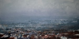 Dp-L08 Burnt Tree and Tipton under Snow. Size 60x120cm. Media Oil. Price £1495
