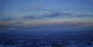 Dp-M04 10. The Black Country under Snow. Dusk. Size 30x60cm. Media Oil. SOLD