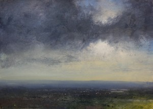 Dp-M06 Evening Light. View West from Turner's Hill. Size A2. Media Oil. SOLD