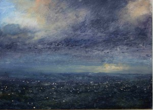 Dp-S04 November Sunset. View from Turners Hill. .Size A3 (30x42cm) Media Oil. SOLD
