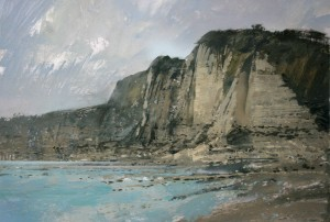 Fr-S02 The Bay at Yport, near Etretat.Size A3 (30x42cm) Media Gouache. SOLD