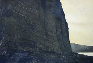 Fr-S04 Cliffs at Fecamp. Late afternoon light.Size A3 (30x42cm) Media Gouache. SOLD