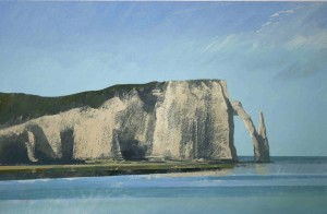 Fr-S10 The Cliffs at Etretat. Morning sunlight, cold wind.Size A4 (21x30cm) Media Gouache. SOLD