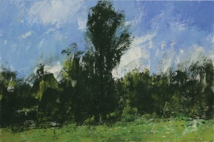 Fr-S22 'Totem' tree. FontainebleauForest. Size A3 (30x42cm) Media Gouache. SOLD
