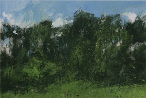Fr-S23 Blue Sky, White Clouds, Black Trees. Fontainebleau Forest. Size A3 (30x42cm) Media Gouache.