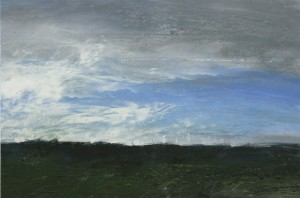 Fr-S26 Sky over Plaine de Macherin, Fontainebleau Forest. Size A3 (30x42cm) Media Gouache.