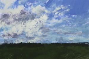 Fr-S27 Sky study. Foret Domaniale de Fontainebleau. Size A3 (30x42cm) Media Gouache. SOLD