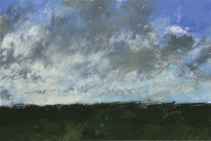 Fr-S28 Sky study. Plaine de Macherin, Fontainebleau Forest. Size A3 (30x42cm) Media Gouache