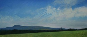 Sh-S03 Ludlow and the Titterstone Clee. Size 21x42cm. Media Gouache. SOLD