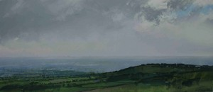 Sh-S06 View South-West from Clee Hill. Size 21x42cm. Media Gouache. SOLD