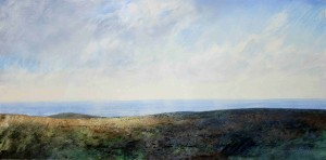 Sh-S08 View from the Western slopes of Long Mynd. Size 21x42cm. Media Oil.