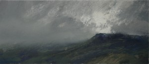 Wa-S02 Breaking Clouds on Moel Gid, Snowdonia. Size 21x42cm Media Gouache. SOLD