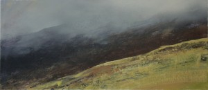 Wa-S03 Clouds on Glyder Fach, Snowdonia. 21x42cm Media Gouache.