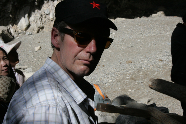 Paul Middleton at the cave in Tiger Leaping Gorge. 19 October 2012.