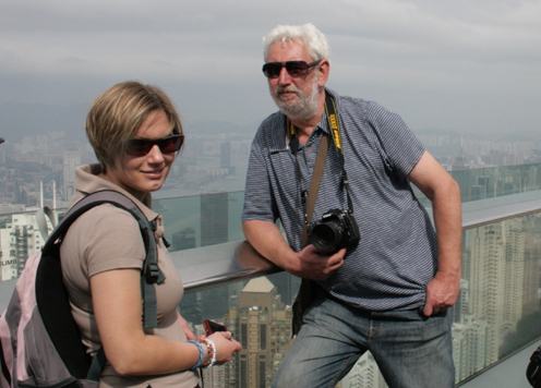 Thanks to the hardworking TV Camera Team.  Nicky Hendy and Frazer Sheppard at Hong Kong, en route home. 27 October 2012.