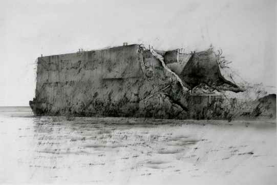 12.15pm 7 July 2003.  Remains of Mulberry Harbour  Arromanches  Charcoal, ink. airbrush