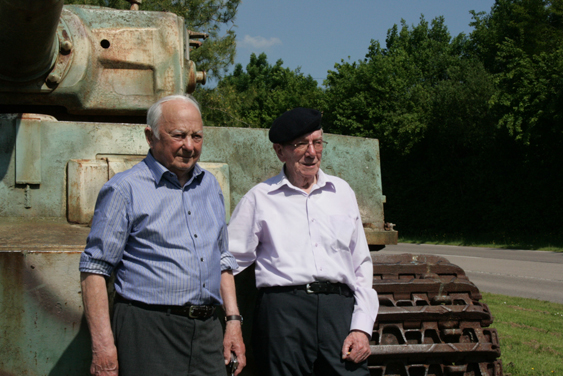 2.57pm, 7 June 2013. D-Day Veterans. Tony Rampling (left)  John Wotherspoon (right) In front of a preserved Tiger Tank at Vimoutiers.