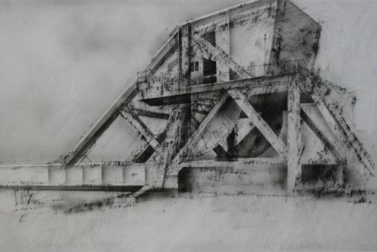 5.30pm 11 July 2003 Pegasus Bridge.  Benouville. Charcoal,  ink, .airbrush