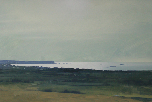 9.00pm 7 July 2003.  View of Arromanches with remains of Mulberry Harbour.  Gouache