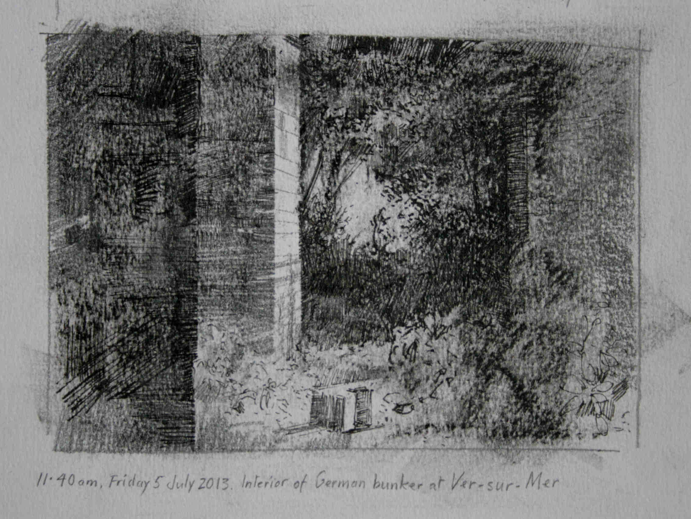 11.40am 5 July 2013. Interior of German Bunker at Ver-sur-Mer.