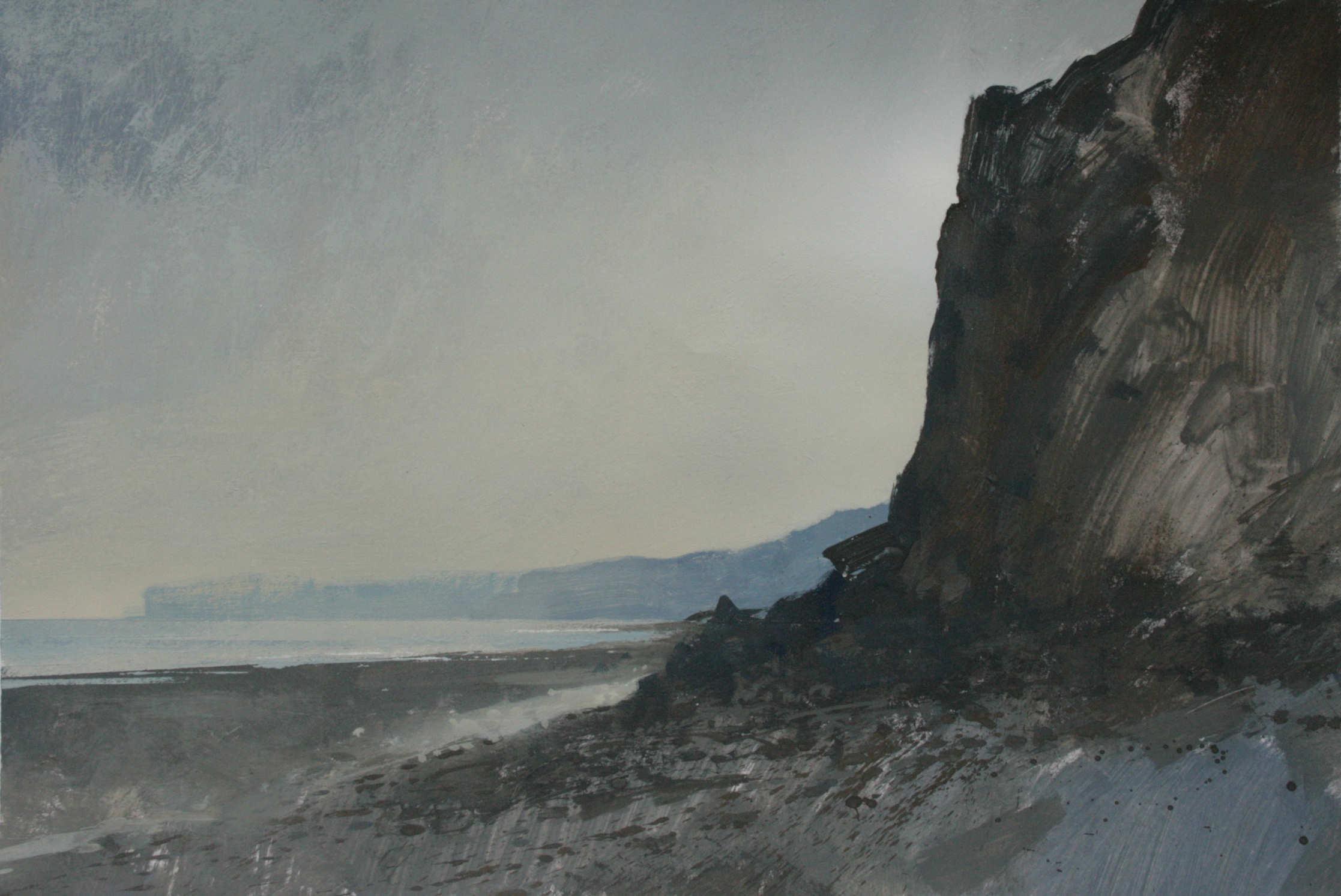 9.40am, 15 July 2013. Rising Sun behind the cliffs at Yport,. A3 Gouache