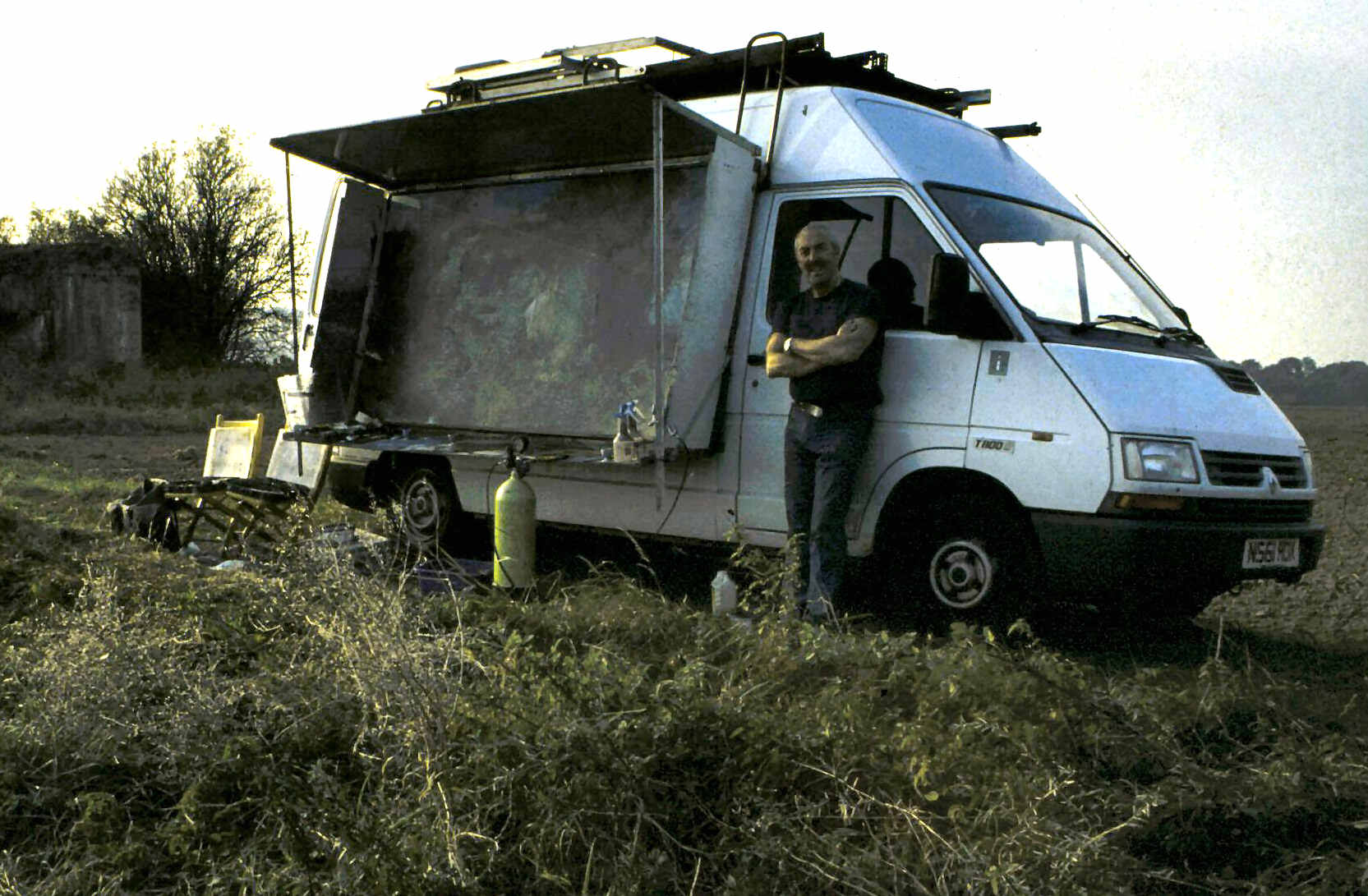 "Robert Perry and his mobile ""Field Studio"" on site near Jenlain, Northern France"